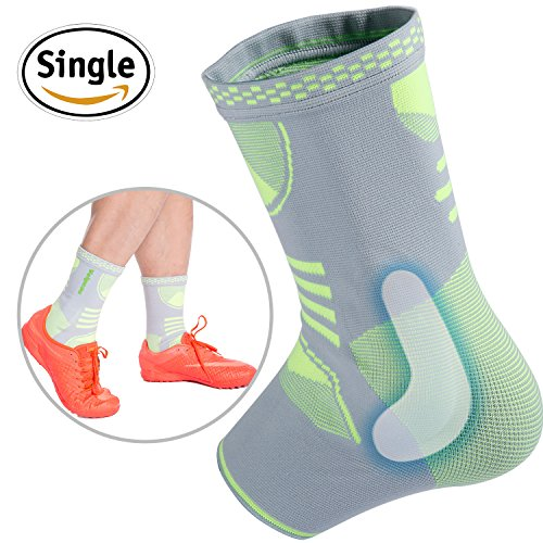 Ankle Brace Compression Support Sleeve with Gel Pads for Injury Recovery, Achilles tendon, Joint Pain, Eases Swelling, Basketball, Workouts, Sports and more for Women & Men by Velpeau (Large)