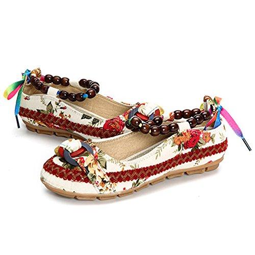 Minetom Vintage Flores Bordado Cómodo Casual Zapatos Bailarina Mary Jane Con Cuentas para Mujeres Flats Loafers Blanco
