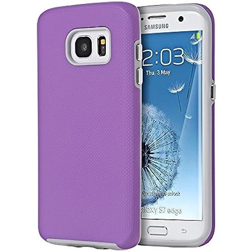 Samsung Galaxy S7 Edge Ezpress Anti-Slip Hybrid Case (Purpl) + Includes VG Brand High Quality Earbuds Sales