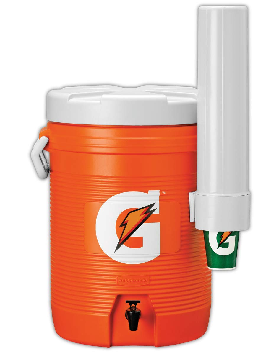 Gatorade 49201-09 Cooler with Cup Dispenser, 5 gal Capacity, Orange, Standard