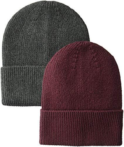 Black Basic Knit Beanie - Amazon Essentials Men's  2-Pack Knit Beanie Hat, Gray Heather/Port, One Size