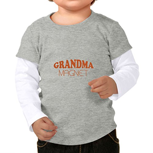 Twofer Girls Top (Cute Rascals Grandma Magnet Style 2 Infants Two-fer Long Sleeve Tee Top Heather Gray White 24 Months)