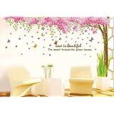 Jessie&Letty Sticker murale smontabile grande rosa del fiore di Sakura Cherry Blossom Tree Wall Sticker PVC delle decalcomanie per la scuola materna ragazze e ragazzi (ZY1096)