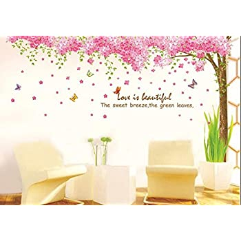 Jessieu0026letty Large Pink Sakura Flower Cherry Blossom Tree Wall Sticker  Decals PVC Removable Wall Decal For Nursery Girls And Boys Childrenu0027s  Bedroom ...