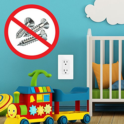 """ENERLITES Screwless Decorator Wall Plates Child Safe Outlet Covers, Size 1-Gang 4.68'' H x 2.94"""" L, Unbreakable Polycarbonate Thermoplastic, SI8831-W-40PCS, White (40 Pack) by ENERLITES (Image #6)"""