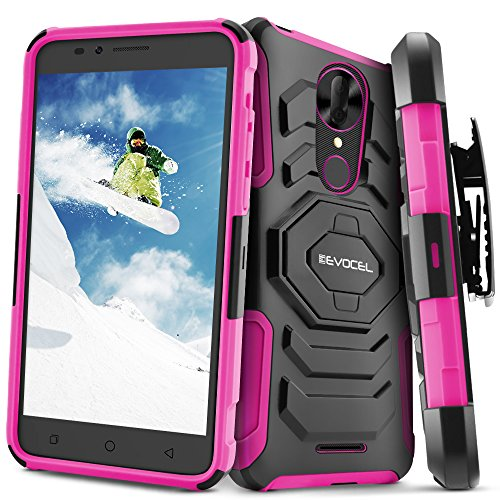T-Mobile REVVL Plus Case, Evocel [New Generation] Rugged Holster Dual Layer Case [Kickstand][Belt Swivel Clip] for T-Mobile REVVL Plus, Pink (EVO-COPLUS-XX05) (Clip T-mobile)