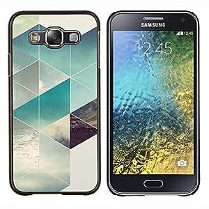 KLONGSHOP // Cubierta de piel con cierre a presión Shell trasero duro de goma Protección Caso - Patrón Polígono Surf Verano Sun - Samsung Galaxy E5 E500 //