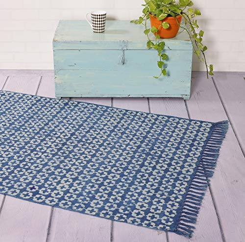 Handicraft-Palace Indian Cotton Block Printed Rug Handmade Ikat Design Area Dhurrie Rug Bohemian Reversible Beach Throw Floor Decor Rugs (Indigo Blue) (Area Rugs Cotton Dhurrie)