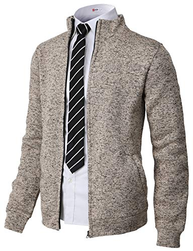 (H2H Mens Casual Knitted Zip-Up Hoodie Jacket Napping Long Sleeve Ivory US XL/Asia 2XL)