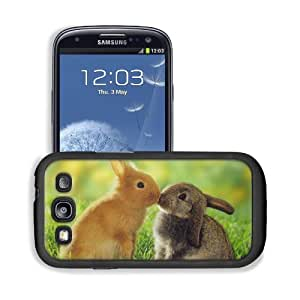 Bunnies Animals Kissing Grass Field Samsung I9300 Galaxy S3 Snap Cover Premium Leather Design Back Plate Case Customized Made to Order Support Ready 5 3/8 inch (136mm) x 2 7/8 inch (73mm) x 7/16 inch (11mm) MSD Galaxy_S3 Professional Cases Touch Accessori