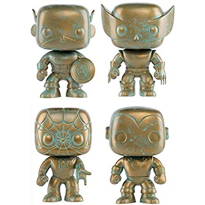 Funko All The Players are Present POP! Marvel: Marvel 80th Patina Store Exclusive Bundle: Spider-Man 495 + Captain America 497 + Iron Man 498 + Wolverine 496 All Limited Edition Exclusives: Toys & Games