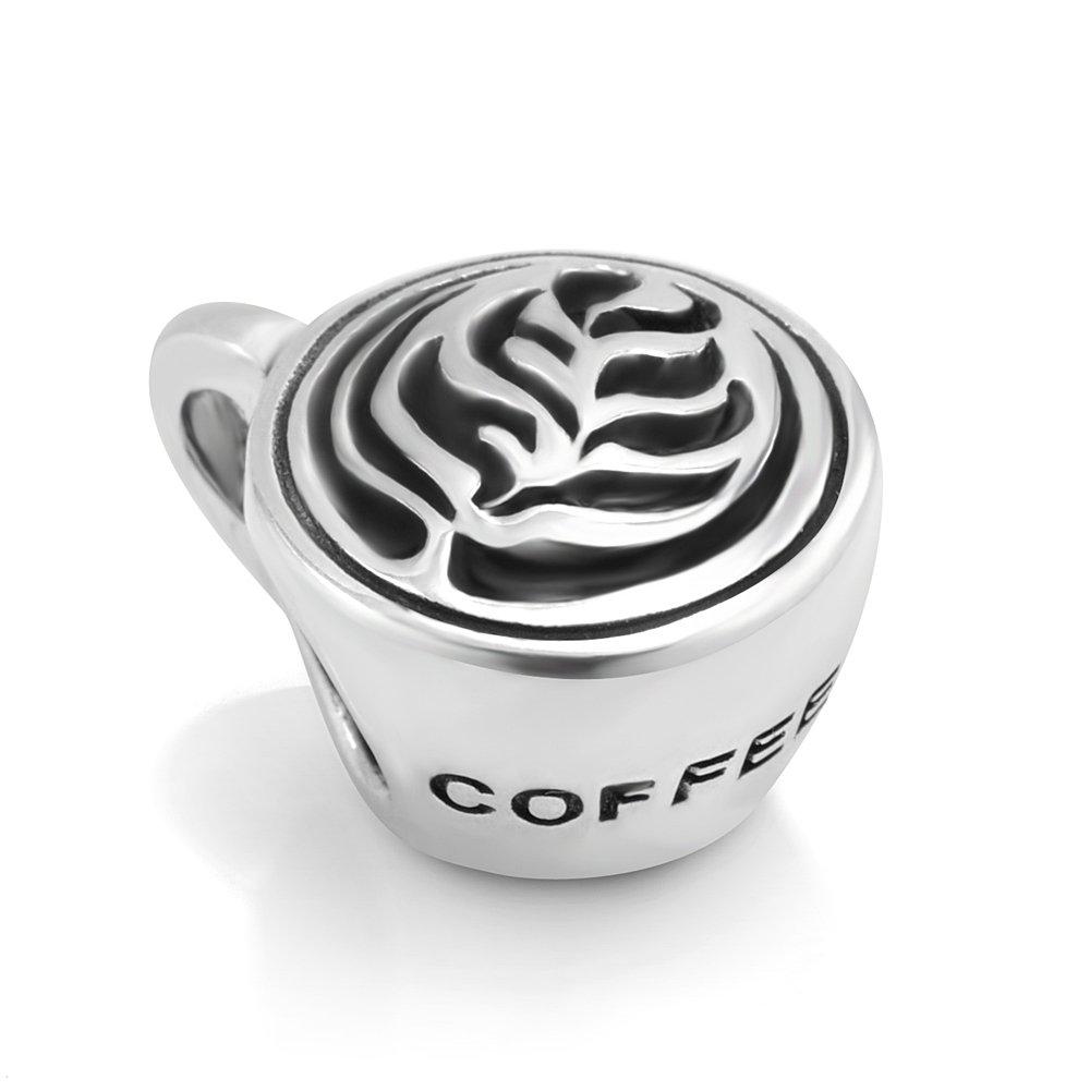 925 Sterling Silver Leaf Latte art Coffee Cup Bead Charm Fit Major Brand Bracelet