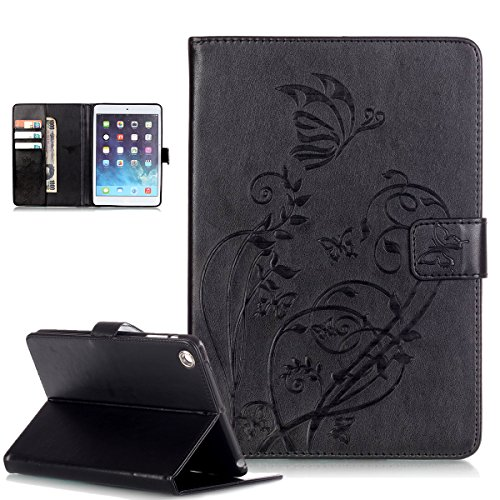 iPad Mini Case,iPad Mini 3 Case,iPad Mini 1/2/3 Case,ikasus Embossing Flower Vines Butterflies Premium PU Leather Flip Wallet Pouch Stand Credit Card ID Holder Case for Apple iPad Mini 1/2/3,Black