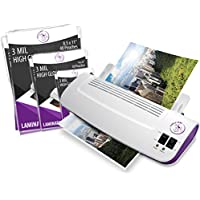 Purple Cows Hot and Cold 9 Laminator | Warms up in just 3 - 5 minutes | Includes 100 Hot Pockets