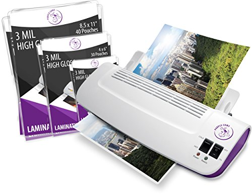 Purple Cows Hot and Cold 9' Laminator | Warms up in just 3 - 5 minutes with pouches / pockets
