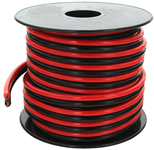 GS Power Ultra Flexible 10 Ga (American Wire Gauge AWG) 50 Feet 99.9% OFC Stranded Oxygen Free Copper Red/Black Bonded Zip Cord Speaker Cable for Car Audio Amplifier Auto Harness LED Light Wiring by GS Power