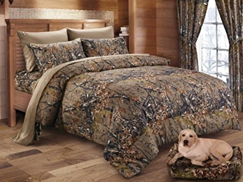 Camo Bed Bag - Queen Reversible Woodland Camo 7 Piece Comforter & Sheet Set