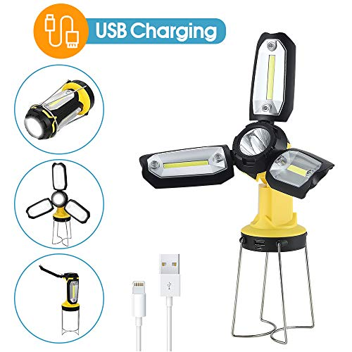 Rechargeable Camping Lantern, Flashlight, Hanging Camping Light, Portable Collapsible Work Light, 2200mAH Power Bank,For Hurricane Emergency, Hiking, Fishing, USB Charging Cable Included