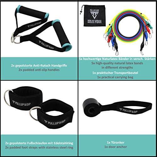 PULLUP & DIP Bandas Elásticas de Resistencia, Bandas Fitness de Latex con Asas, Anclaje de Puertas, Correas para Tobillos + Bolsa de Transporte (11 ...