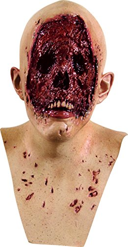 [No Face Walking Dead Bloody Zombie Corpes Latex Adult Halloween Costume Mask] (Halloween Costumes For 4 People)