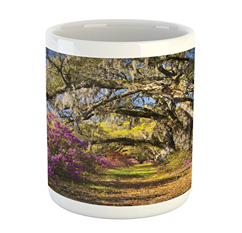 Lunarable Landscape Mug, Nature Imagery Flowers in Charleston South Carolina Azalea Blooms Oak Tree, Printed Ceramic Coffee Mug Water Tea Drinks Cup, Violet Purple