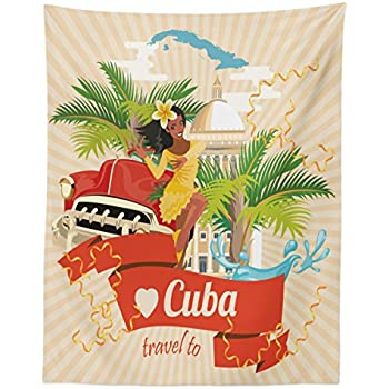 Lunarable Havana Tapestry Twin Size, Cuban Culture and Attractions Concept Smiling Local Lady on Classic Car Among Palms, Wall Hanging Bedspread Bed Cover Wall Decor, 68