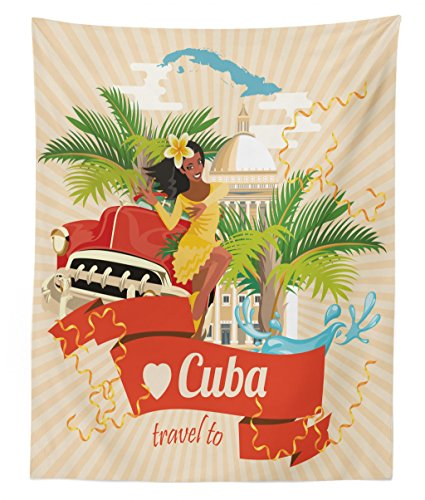 Lunarable Havana Tapestry Twin Size, Cuban Culture and Attractions Concept Smiling Local Lady on Classic Car Among Palms, Wall Hanging Bedspread Bed Cover Wall Decor, 68 W X 88 L inches, Multicolor]()
