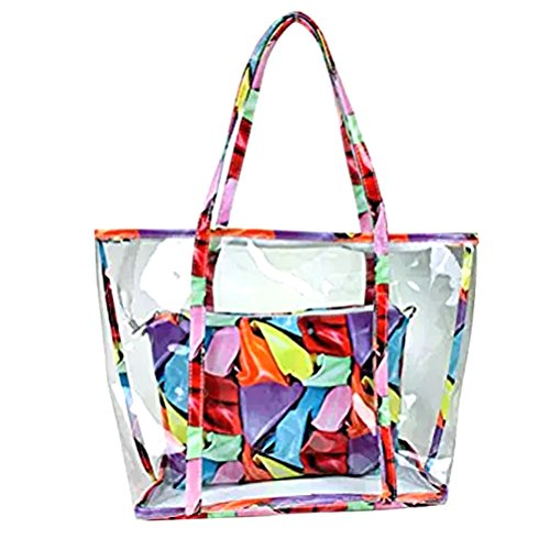 Abuyall 2 in 1 Semi Clear Beach Tote Bags Large Work Shoulder Bag with Interior Pouch L