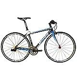 BEIOU 2016 Carbon Comfortable Bicycles 700C Road Bike LTWOO 210 Speed SRAM Brake Complete 18.3 lb Hybrid Bike Toray T800 Fiber CB0012B (White Blue, 520mm)