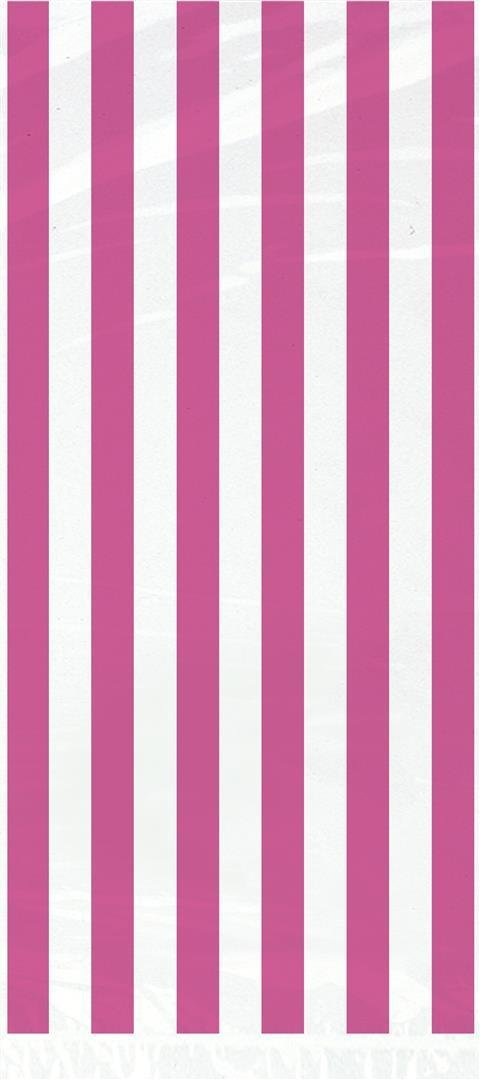 Hot Pink Striped Cellophane Bags, 20ct