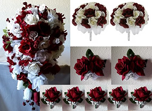[10 Piece Burgundy Ivory White Rose Hydrangea Cascading Bridal Wedding Bouquet Package] (Burgundy Bridal Bouquet)
