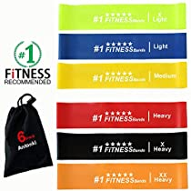 Resistance Bands, Antonki 6 Pcs 12 Inch Long Resistance Loop Bands Exercise Fitness Bands for Gym, Home, Yoga, Indoor, Outdoor - Exercise Like A Pro - Handy Bag Included