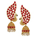 Efulgenz Indian Bollywood 14K Gold Plated Crystal Kundan Pearl Peacock Inspired Jhumka Jhumki Earrings Jewelry Set