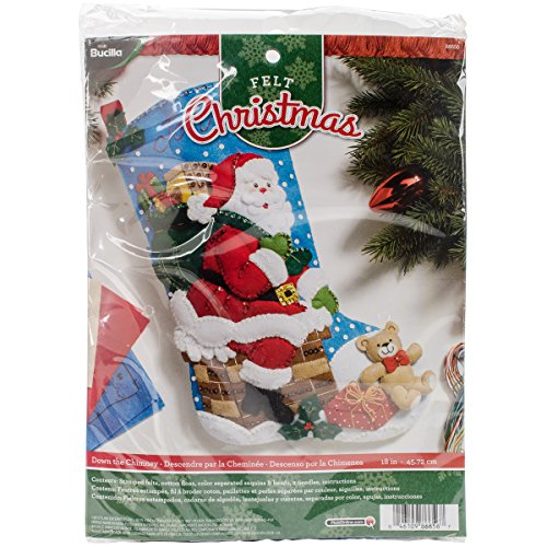 Bucilla 18-Inch Christmas Stocking Felt Applique Kit, 86656 Down The Chimney by Bucilla