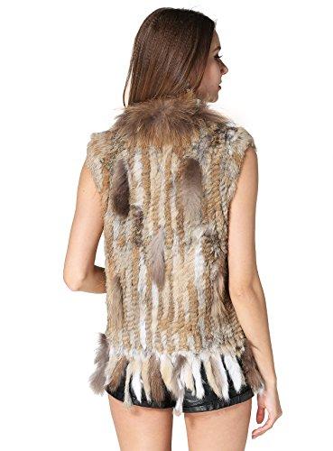MEEFUR Rabbit Fur Vest with Raccoon Fur Collar