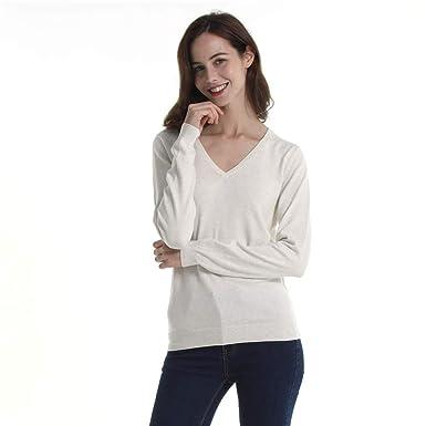 HUTOBI 100% Cotton Soft V-Neck Long Sleeve Pullover Knit Sweater for Women  Beige 99783ce1e0