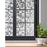 Rabbitgoo Window Film Privacy Film Glass Windows 3D No Glue Decorative Window Film Mosaic Glass Film Heat Control Anti UV for Home Office Kitchen Living Room Meeting Room 35.4in. By 78.7in.