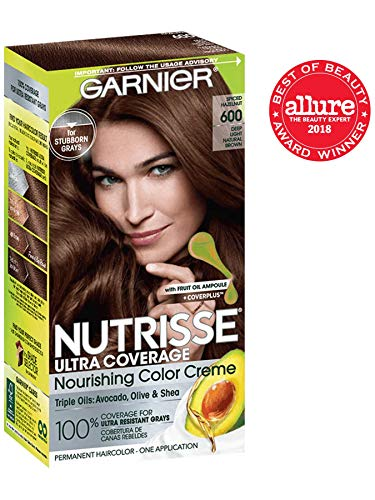 Garnier Nutrisse Ultra Coverage Hair Color, Deep Light Natural Brown (Spiced Hazelnut) 600 (Packaging May Vary) (1 High Pigment Olive Cream)