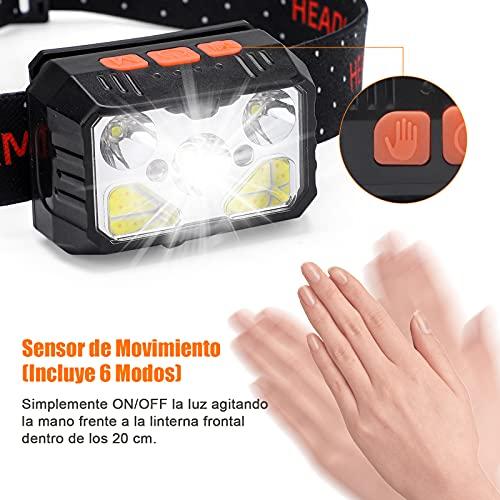 bedee Linterna Frontal, Frontal LED Recargable, Linterna Cabeza 7 Modos con Sensor y Luz Roja, 2 Unidades 1500 Lúmenes linterna Frontal LED Recargable Impermeable IPX5 para Running, Acampar, Pesca