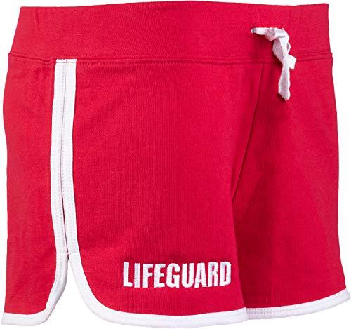 Lifeguard Shorts   Red Women's Cute Lifeguarding French Terry Blend Girly Dolphin Bottom-(BoxCotton,M) (Lifeguard Shorts Women)