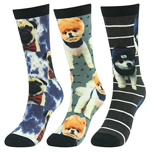 Fun Casual Socks,J'colour Mens Womens Animal Novelty Digital Printed Cute Holiday Gift Crew High Socks 3 Pairs