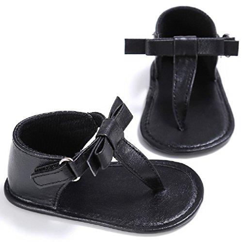 Baby Schuhe Auxma Für 0-18Month Kleinkind Baby Mädchen Bogen Sommer Sandalen Neugeborenen Soft Sole Anti-Rutsch Krippe Schuhe (0-6 M, Rosa) Schwarz