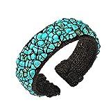 AeraVida Mosaic Blue Simulated Turquoise Expandable Organic Cuff Bracelet