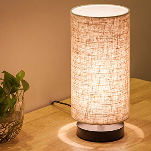 Lifeholder Table Lamp, Bedside Nightstand Lamp, Simple Desk Lamp, Fabric Wooden Table Lamp for Bedroom Living Room Office Study, Cylinder Black Base]()