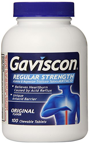 Gaviscon Alumina and Magnesium Trisilicate/Antacid, Original Flavor, Chewable Tablets, 100 Count Bottle (Pack of 4)