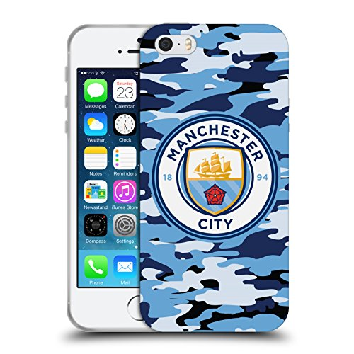 Official Manchester City Man City FC Blue Moon Badge Camou Soft Gel Case for Apple iPhone 5 / 5s / SE - City Badge
