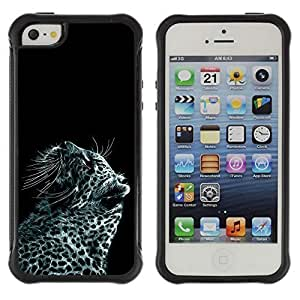 Hybrid Anti-Shock Defend Case for Apple iPhone 5 5S / Cool Snow Leopard Painting
