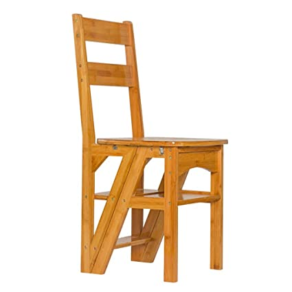 Step Stool, Multifunctional Folding Ladder Chair Indoor Balcony Removable  Climbing Ladder Home Solid Wood Ladder