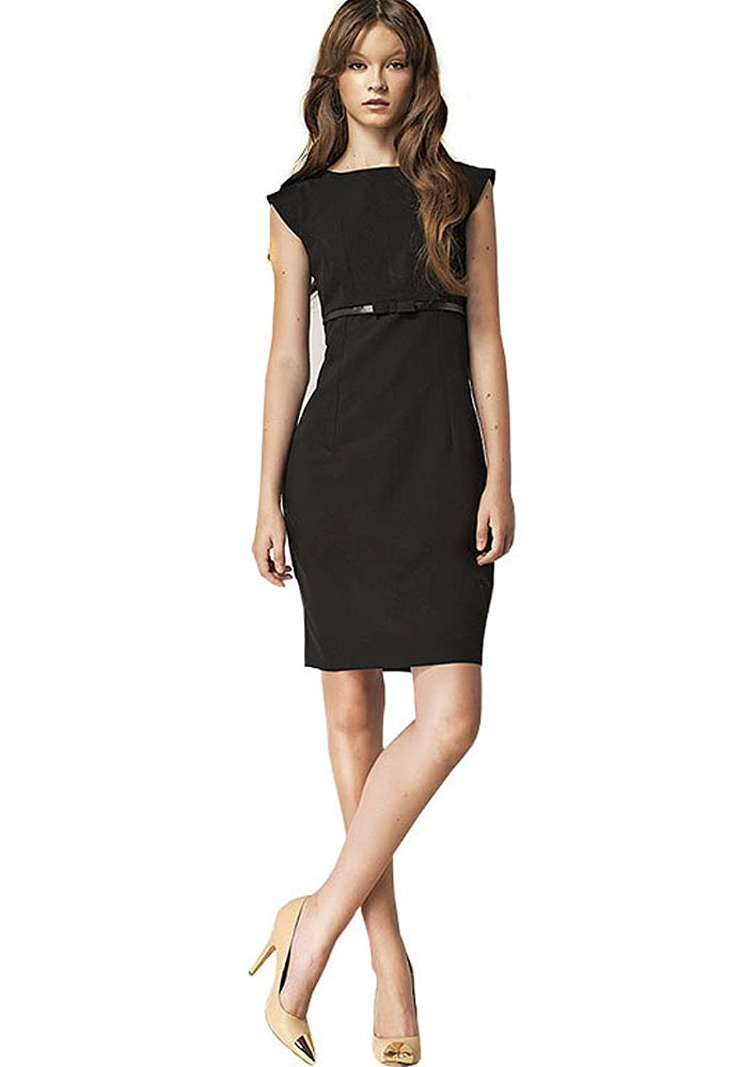 Victoriav Sheath Dress with Bow, Small, Black