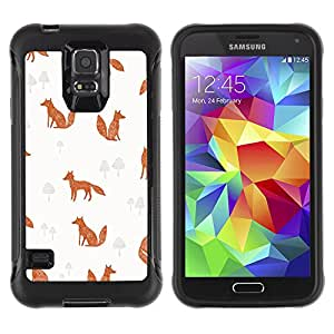 WAWU Rugged Armor Slim Protection Case Cover Shell -- fox clever animal pattern cinnamon -- Samsung Galaxy S5 SM-G900